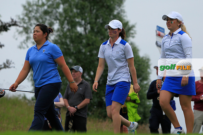 Bethany Wu, Leona Maguire and Bronte Law on the 5th during the Friday afternoon Fourballs of the 2016 Curtis Cup at Dun Laoghaire Golf Club on Friday 10th June 2016.<br /> Picture:  Golffile | Thos Caffrey