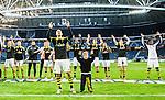 ****BETALBILD**** <br /> Solna 2015-04-26 Fotboll Allsvenskan AIK - &Ouml;rebro SK :  <br /> AIK:s Panajotis Dimitriadis (l&auml;ngst fram) med lagkamrater jublar framf&ouml;r AIK:s supportrar efter matchen mellan AIK och &Ouml;rebro SK <br /> (Foto: Kenta J&ouml;nsson) Nyckelord:  AIK Gnaget Friends Arena Allsvenskan &Ouml;rebro &Ouml;SK jubel gl&auml;dje lycka glad happy glad gl&auml;dje lycka leende ler le