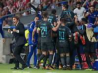 Chelsea´s forward Alvaro Morata celebrating after scoring during the UEFA Champions League group C match between Atletico Madrid and Chelsea played at the Wanda Metropolitano Stadium in Madrid, on September 27th 2017.