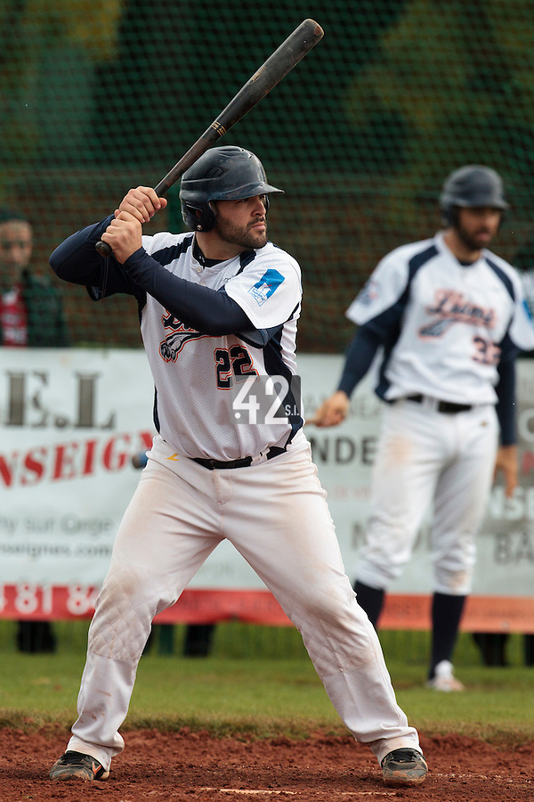 16 October 2010: Vincent Ferreira of Savigny is seen at bat during Rouen 16-4 win over Savigny, during game 1 of the French championship finals, in Savigny sur Orge, France.