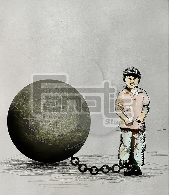 Concept of a young boy chained to a large ball depicting children in detention