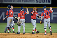 The NJIT Highlanders celebrate their win over the High Point Panthers during game two of a double-header at Williard Stadium on February 18, 2017 in High Point, North Carolina.  The Highlanders defeated the Panthers 4-2.  (Brian Westerholt/Four Seam Images)