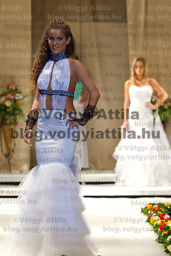 Edina Gosztola attends the Miss Hungary 2010 beauty contest held in Budapest, Hungary on November 29, 2010. ATTILA VOLGYI