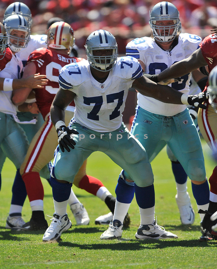 TYRON SMITH, of the Dallas Cowboys, in action during the Cowboy's game against the 49ers on September 18, 2011 at Candlestick Park in San Francisco, CA. The Cowboys beat the 49ers 27-24 in OT.