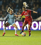 Toni Duggan of Manchester City Women and Theresa Nielsen of Brondby IF during the Champions League last 16 tie, first leg between Manchester City Women and Brondby IF at the Academy Stadium. <br /> <br /> Photo credit should read: Lynne Cameron/Sportimage
