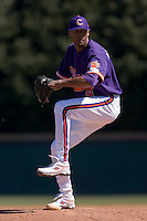 D.J. Mitchell (9) of the Clemson Tigers in action versus the Wake Forest Demon Deacons during the first game of a double header at Gene Hooks Stadium in Winston-Salem, NC, Sunday, March 9, 2008.