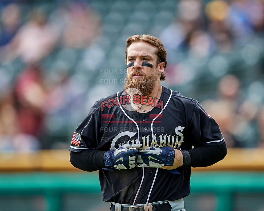 Collin Cowgill (5) of the El Paso Chihuahuas during the game against the Salt Lake Bees in Pacific Coast League action at Smith's Ballpark on April 30, 2017 in Salt Lake City, Utah. El Paso defeated Salt Lake 3-0. This was Game 1 of a double-header. (Stephen Smith/Four Seam Images)