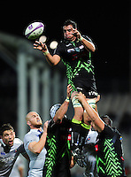 Daniel Ramsay of Pau wins the ball at a lineout. European Rugby Challenge Cup match, between Pau (Section Paloise) and Bath Rugby on October 15, 2016 at the Stade du Hameau in Pau, France. Photo by: Patrick Khachfe / Onside Images
