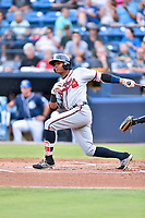 Rome Braves center fielder Cristian Pache (25) swings at a pitch during a game against the Asheville Tourists at McCormick Field on July 27, 2017 in Asheville, North Carolina. The Braves defeated the Tourists 6-3. (Tony Farlow/Four Seam Images)