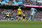 Yaya Toure of Manchester City scores the opening goal - Barclay's Premier League - Manchester City vs Aston Villa - Etihad Stadium - Manchester - 05/03/2016 Pic Philip Oldham/SportImage