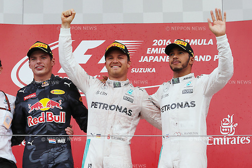 (L-R)  Max Verstappen (NED),  Nico Rosberg (GER),  Lewis Hamilton (GBR), <br /> OCTOBER 9, 2016 - F1 : Japanese Formula One Grand Prix Victory ceremony <br /> at Suzuka Circuit in Suzuka, Japan. (Photo by Sho Tamura/AFLO) GERMANY OUT