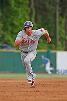 Salem Red Sox infielder Sam Travis (34) running the bases during a game against the Myrtle Beach Pelicans at Ticketreturn.com Field at Pelicans Ballpark on May 6, 2015 in Myrtle Beach, South Carolina.  Salem defeated Myrtle Beach  5-4. (Robert Gurganus/Four Seam Images)