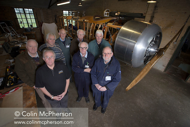 Members of the Aviation Preservation Society of Scotland (APSS) at a workshop on the site of the Museum of Flight at East Fortune, Scotland, where they have been working to build a World War 1 Sopworth Strutter aircraft. The project in 2002 and has involved dozens of men constructing the biplane using original plans. The men have been told by National Museums Scotland they will have to vacate their workshop as soon as the aircraft is complete.