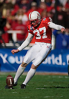01 January 2007: Nebraska kicker Jake Wesch kicks off the ball after a Cornhusker score during the 2007 AT&T Cotton Bowl Classic between The University of Auburn and The University of Nebraska at The Cotton Bowl in Dallas, TX.