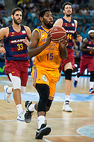 Herbalife Gran Canaria's player Royce O'Neale and FC Barcelona Lassa playes Stratos Perperoglou and Ante Tomic during the final of Supercopa of Liga Endesa Madrid. September 24, Spain. 2016. (ALTERPHOTOS/BorjaB.Hojas) NORTEPHOTO.COM