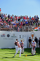 Kevin Kisner (USA) watches his tee shot on 1 during round 2 Four-Ball of the 2017 President's Cup, Liberty National Golf Club, Jersey City, New Jersey, USA. 9/29/2017.<br /> Picture: Golffile | Ken Murray<br /> <br /> All photo usage must carry mandatory copyright credit (&copy; Golffile | Ken Murray)
