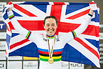 Katie Archibald of Great Britain celebrates winning the Women's Omnium Points Race 4/4 during the 2017 UCI Track Cycling World Championships on 14 April 2017, in Hong Kong Velodrome, Hong Kong, China. Photo by Marcio Rodrigo Machado / Power Sport Images