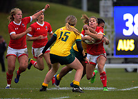 Frederique Rajotte is tackled high during the 2017 International Women's Rugby Series rugby match between Canada and Australia Wallaroos at Smallbone Park in Rotorua, New Zealand on Saturday, 17 June 2017. Photo: Dave Lintott / lintottphoto.co.nz