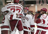 The Crimson celebrate Tyler Moy's (Harvard - 2) goal which gave Harvard its first lead. The Harvard University Crimson defeated the Dartmouth College Big Green 5-2 to sweep their weekend series on Sunday, November 1, 2015, at Bright-Landry Hockey Center in Boston, Massachusetts. -