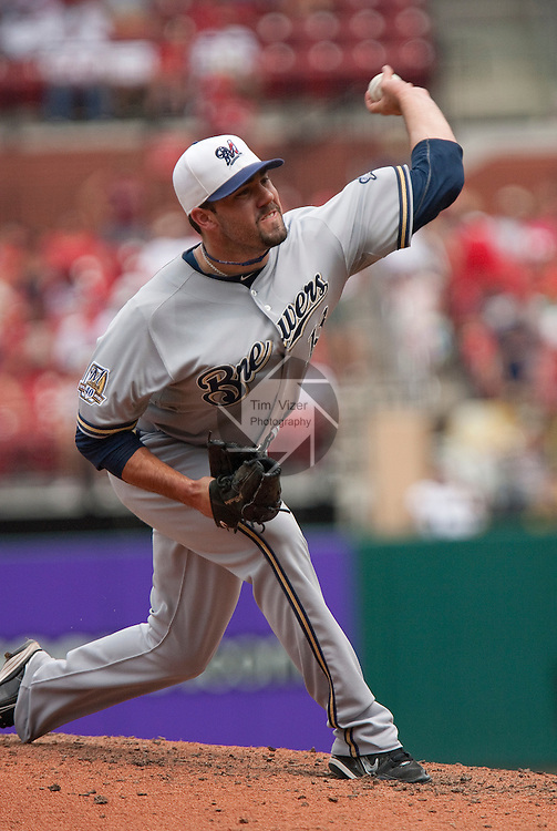 July 4, 2010          Milwaukee Brewers relief pitcher Zach Braddock (13) throws late in the game.  The St. Louis Cardinals defeated the Milwaukee Brewers 7-1 in the final game of a four-game homestand at Busch Stadium in downtown St. Louis, MO on Sunday July 4, 2010.