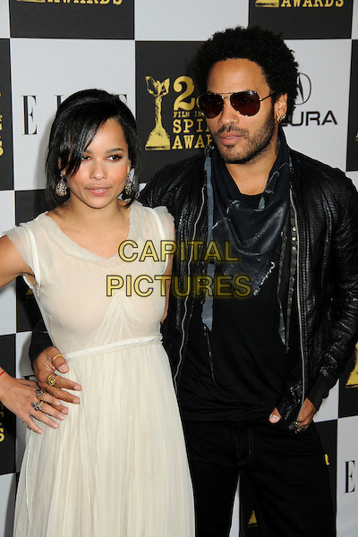 ZOE & LENNY KRAVITZ.25th Annual Film Independent Spirit Awards - Arrivals held at the Nokia Event Deck at L.A. Live, Los Angeles, California, USA..March 5th, 2010.half length jacket white beige cream dress sleeveless father dad daughter family black leather stubble beard facial hair sunglasses shades .CAP/ADM/BP.©Byron Purvis/AdMedia/Capital Pictures.
