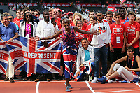Mo Farah stands ion front of the Great Britain World Championship athletes and helpers during the Muller Anniversary Games at The London Stadium on 9th July 2017