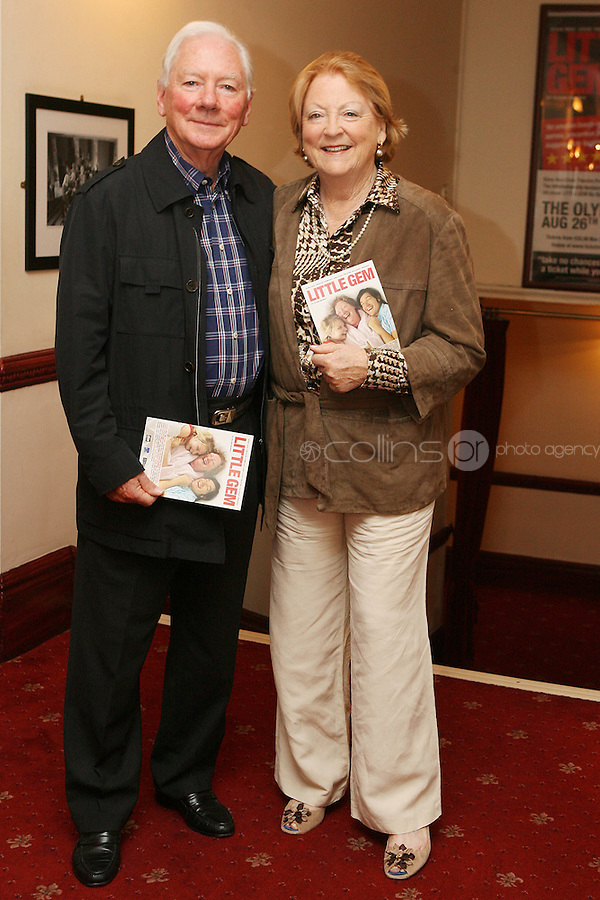 26/8/2010. NO REPRO FEE. Little Gem Opening night.  Gay Byrne and Kathleen Watkins are pictured at the Olympia Theatre Dublin for the opening night of Little Gem. Hilda Fay makes her return as Lorraine, Anita Reeves continues in the role of Kay, and Genevieve Hulme-Beaman takes on the role of Amber. After sell-out seasons in New York, London and Paris and a sold-out 7-week run at Ireland's National Theatre, Gúna Nua is bringing its bittersweet comedy Little Gem back to Dublin for 10 shows only at The Olympia Theatre from August 26 to September 4, 2010. Love, sex, birth, death, dildos and salsa classes: Elaine Murphy's award winning Little Gem sees three generations of Dublin women on a wild and constantly surprising journey. Picture James Horan/Collins Photos