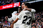 Sergio Ramos of Real Madrid celebrates scoring his goal with teammates during the La Liga 2018-19 match between Real Madrid and Real Valladolid at Estadio Santiago Bernabeu on November 03 2018 in Madrid, Spain. Photo by Diego Souto / Power Sport Images
