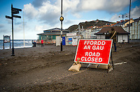 Aberystwyth Wales UK, Tuesday 09 February 2016<br /> UK weather: A road is closed during the process of cleaning up the damage caused by Storm Imogen in its aftermath, after it hit Aberystwyth, west Wales