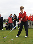 Lady Captain Geraldine Collier tees off at the captain's drive in at County Louth golf Club. Photo: Colin Bell/pressphotos.ie
