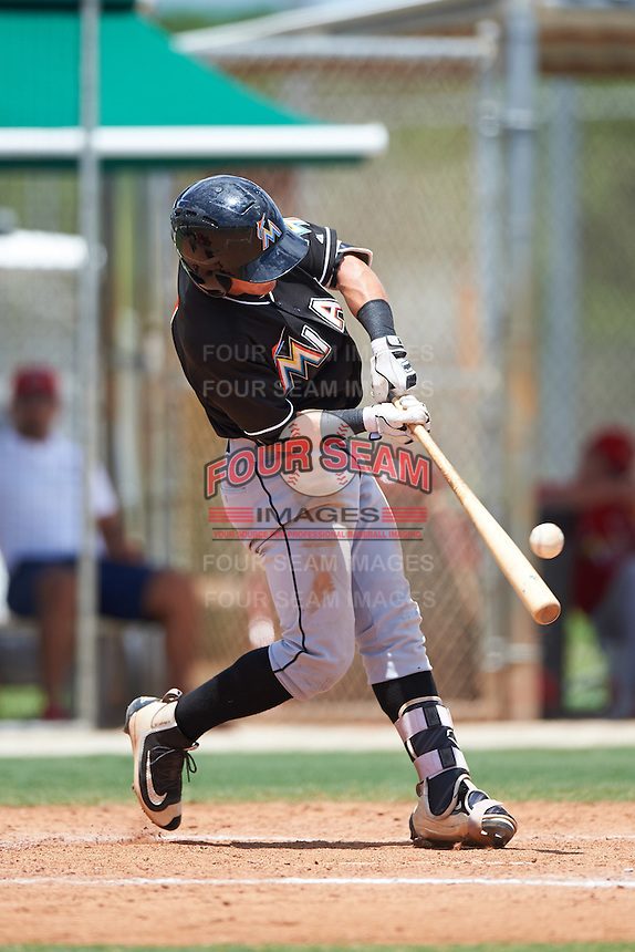 GCL Marlins shortstop Luis Pintor (1) at bat during the second game of a doubleheader against the GCL Cardinals on August 13, 2016 at Roger Dean Complex in Jupiter, Florida.  GCL Cardinals defeated GCL Marlins 2-0.  (Mike Janes/Four Seam Images)