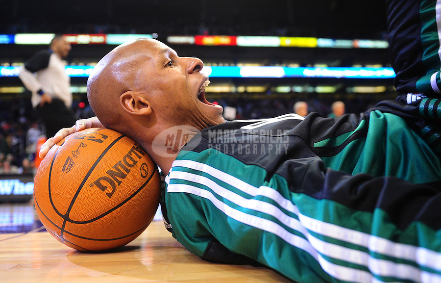 Jan. 28, 2011; Phoenix, AZ, USA; Boston Celtics guard (20) Ray Allen stretches prior to the game against the Phoenix Suns at the US Airways Center. Mandatory Credit: Mark J. Rebilas-