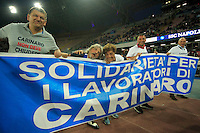 Sampodoria's patron Massimo Ferrero with workers of indesit  before  the Italian Serie A soccer match between   SSC Napoli and UC Sampdoria at San Paolo  Stadium in Naples ,April 26 , 2015