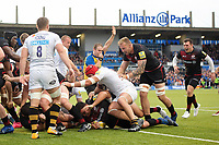 Jamie George of Saracens scores his third try of the match. Aviva Premiership match, between Saracens and Wasps on October 8, 2017 at Allianz Park in London, England. Photo by: Patrick Khachfe / JMP