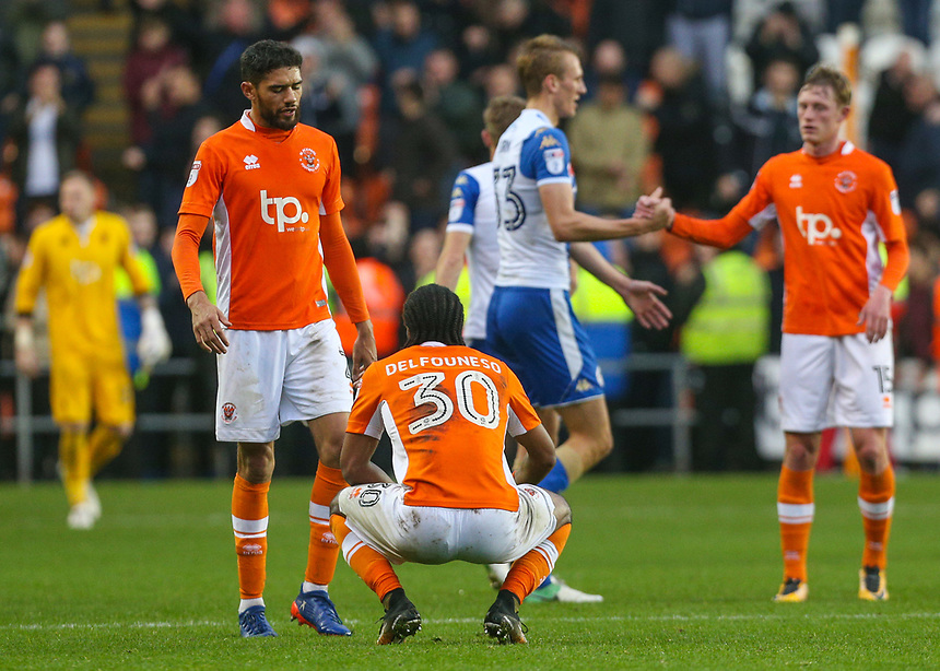 Blackpool players react to the final whistle<br /> <br /> Photographer Alex Dodd/CameraSport<br /> <br /> The EFL Sky Bet League One - Blackpool v Wigan Athletic - Saturday 21st October 2017 - Bloomfield Road - Blackpool<br /> <br /> World Copyright &copy; 2017 CameraSport. All rights reserved. 43 Linden Ave. Countesthorpe. Leicester. England. LE8 5PG - Tel: +44 (0) 116 277 4147 - admin@camerasport.com - www.camerasport.com