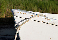 Rowboat in marsh grass, Cape Cod, Massachusetts, USA