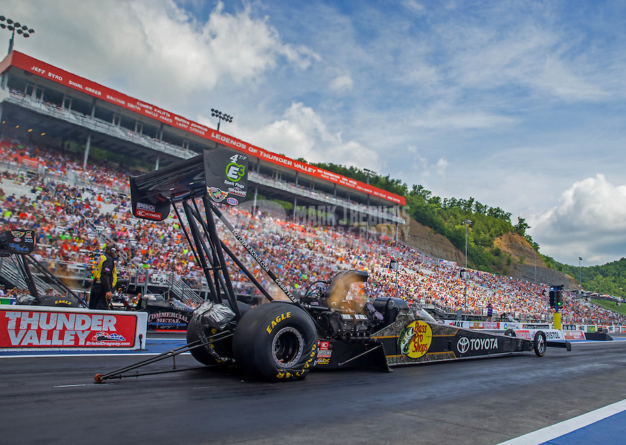 Jun 21, 2015; Bristol, TN, USA; NHRA top fuel driver Shawn Langdon during the Thunder Valley Nationals at Bristol Dragway. Mandatory Credit: Mark J. Rebilas-
