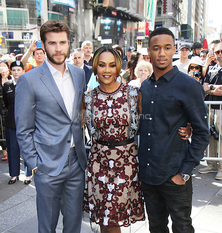 NEW YORK, NY-June 14: Liam Hemsworth, Vivica A. Fox, Jessie T. Usher from the cast of  Independence Day: Resurgence ring Nasdaq Stock Open Bell  at Nasdaq Time Square in New York. NY June 14, 2016. Credit:RW/MediaPunch
