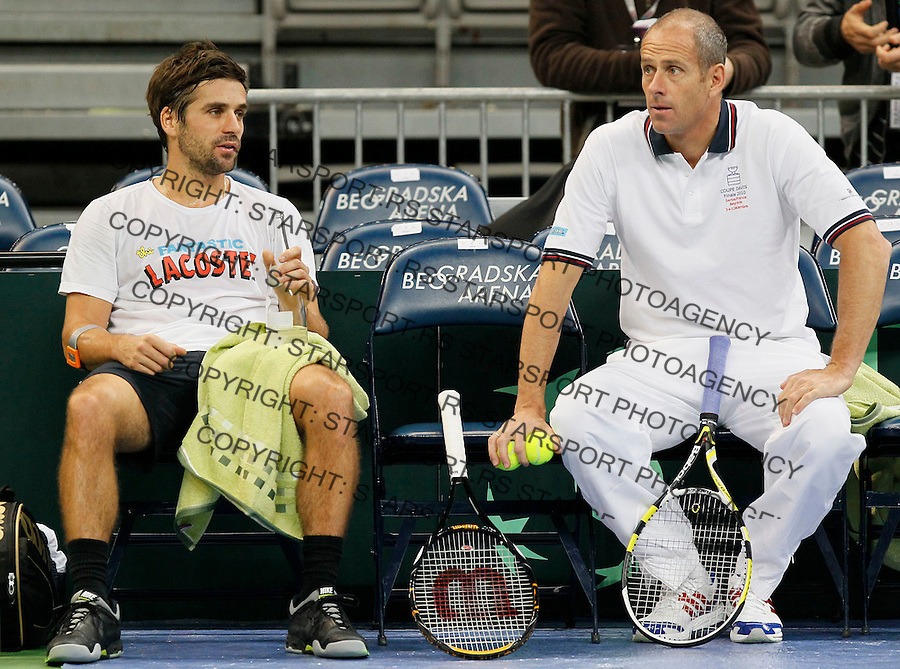 Tenis, Davis Cup 2010.Serbia Vs. France, final.Practice session.Arnoud Clement, left and France team captain Guy Forget.Beograd, 30.11.2010..foto: Srdjan Stevanovic/Starsportphoto ©