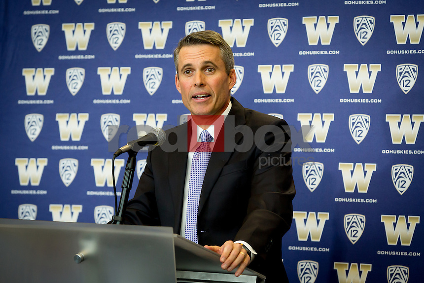New University of Washington football coach Chris Petersen is introduced to the media at Husky Stadium on December 9, 2013. (Photo by Scott Eklund/Red Box Pictures)