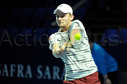 25.10.2016.  St. Jakobshalle, Basel, Switzerland. Basel Swiss Indoors Tennis Championships. Day 2. David Goffin in action in the match against Marcos Baghdatis of Cyprus
