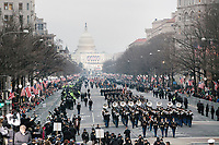 Marching bands participate in the inaugural parade of President Donald Trump on Jan. 20, 2017, in Washington, D.C.