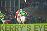 James Walsh of Kerry launches an attack against Cork in the Munster U21 Football Championship Final held on Wednesday night in Pairc Ui Rinn Cork.