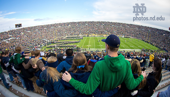 The team enters the stadium before a football game, Notre Dame Stadium...Photo by Matt Cashore/University of Notre Dame