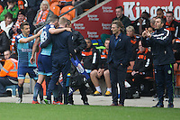Matt Bloomfield of Wycombe Wanderers replaces the injured Danny Rowe during the Sky Bet League 2 match between Blackpool and Wycombe Wanderers at Bloomfield Road, Blackpool, England on 20 August 2016. Photo by James Williamson / PRiME Media Images.