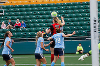 Rochester, NY - May 21, 2016: Western New York Flash midfielder Samantha Mewis (5) goes over Kelley O'Hara (19) during a National Women's Soccer League (NWSL) match at Sahlen's Stadium. The Western New York Flash go on to win 5-2.