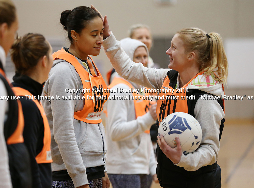 03.07.2014 Silver Fern Maria Tutaia and Shannon Francois in action during the Silver Ferns netball training session at the AUT in Auckland. Mandatory Photo Credit ©Michael Bradley.