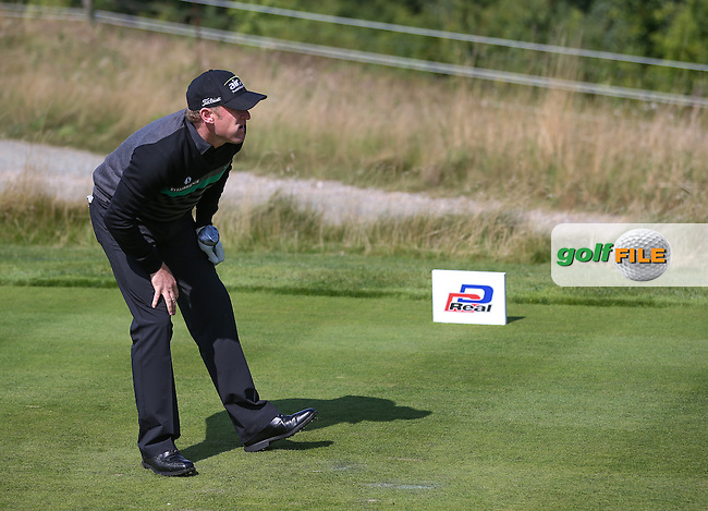 Jamie Donaldson (WAL) finds trouble down the 4th and will drop a shot during the Final Round of the D&D Real Czech Masters 2014 from the Albatross Golf Resort, Vysoky Ujezd, Prague. Picture:  David Lloyd / www.golffile.ie