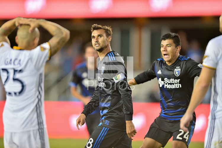 San Jose, CA - Monday July 10, 2017: Chris Wondolowski, Nick Lima during a U.S. Open Cup quarterfinal match between the San Jose Earthquakes and the Los Angeles Galaxy at Avaya Stadium.