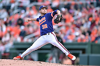 Clemson Tigers starting pitcher Clate Schmidt (32) delivers a pitch during a game against the South Carolina Gamecocks at Fluor Field on March 5, 2016 in Greenville, South Carolina. The Tigers defeated the Gamecocks 5-0. (Tony Farlow/Four Seam Images)